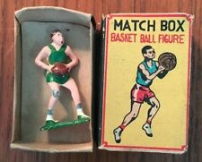 Spectacular Antique 1940s Match Box BASKETBALL Lead Toy Figurine Japan Celtics