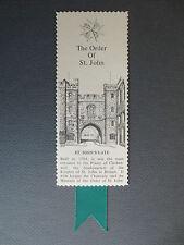 Vintage BOOKMARK Westair Card ORDER OF ST JOHN St John's Gate Priory Clerkenwell