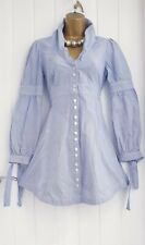 Ted Baker Talla 2 10 Azul Blanco Raya Diplomática Camisa De Algodón Vestido Adorables Verano Informal