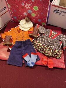 American Girl Julie Dog Walking Set Cap Outfit & Calico Dress Flip Flops Socks