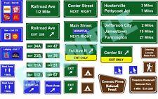 Custom Decal - N Scale Highway Traffic Signs, Set #4