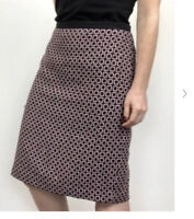 Talbots Women's Wool blend Skirt Black & Pink Geometric Tweed Skirt Size 10