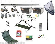 Carp Fishing Set Kit 2 Rods 2 Reels 2 Alarms Rod Pod + More Tackle   pc8