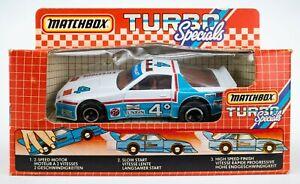 1985 Matchbox Turbo Specials TS-1 Firestone Chevrolet Camaro WHITE / BOXED