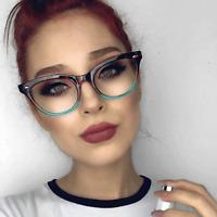 Cat Eye Clear Lens Retro Eyeglasses Two Tone Black and Brown Frame Women Fashion
