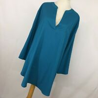 Coldwater Creek 3X Teal Blue Silky Shirt Top Long Tunic V Neck 3/4 Sleeve  L1