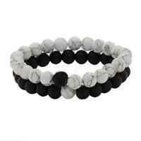 His &Hers Bracelets Long Distance Relationship Couples Lava Bead Bracelet Bangle