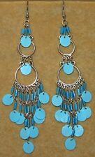 Blue Light TRIBAL Sequin Hippie Chandelier Belly Dance Dancing Gypsy Earrings