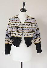Vintage Fair Isle Cropped Cardigan - Wool Blend - UK 10 /12