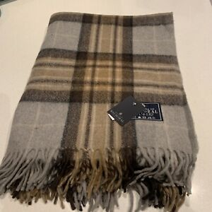 House Balmoral Natural Mackeller Rug Blanket Scotland Tartan Check Large Throw