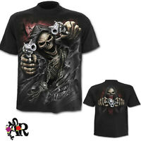 MENS BLACK SPIRAL DIRECT ASSASIN SHORT SLEEVED T SHIRT BIKER GOTH