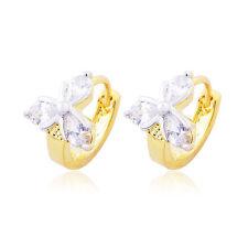 Vintage Womens baby Hoop earrings jewelry 18K gold filled Flower crystal earings
