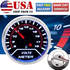 """Car Universal Digital Volt Voltmeter Gauge LED Meter Red Pointer 8-18V 52mm 2"""""""