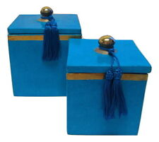 Moroccan Set of 2 Spice Jar Canisters in Painted Terracotta & Metal Decor Blue