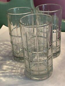 "3 Vintage Anchor Hocking Tartan Drinking Glasses, 16 oz Clear - 6"" Tall"