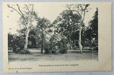 early 1900s Antique Postcard Saigon Vietnam Annamite Well Jardin de la Ville