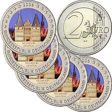 """Deutschland 5 x 2 Euro 2006 Mzz A - J Schleswig Holstein """" Holstentor """" in Farbe"""