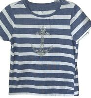 Casey & Key womens top shirt nautical blue white stripes silver sequin anchor
