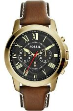 Fossil FS5062 Grant Black Dial Brown Leather Mens Quartz Watch