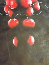 minimal red black abstract cherries large oil painting still life original