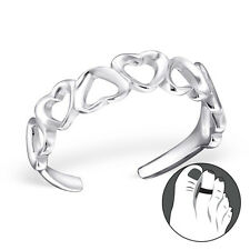 925 Sterling Silver Toe Ring Hollow Love Heart Band Adjustable Body Jewellery
