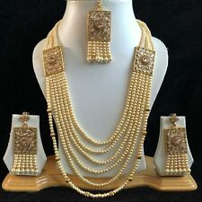 PEACH GOLD INDIAN KUNDAN COSTUME JEWELLERY NECKLACE EARRINGS CRYSTAL SET NEW 314