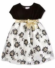 BLUEBERI BOULEVARD® Girls' 6X Metallic Gold Flocked Holiday Dress NWT $74