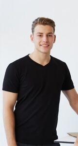 Men's Black  T Shirt Plain 95% Cotton  5% Elastane Stretch fabric AU Seller