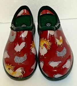 SLOGGERS CLOGS GARDEN SHOES WITH CHICKENS SIZE 9 MADE IN USA