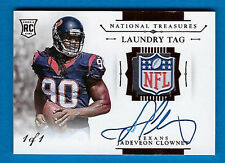 2014 PANINI NATIONAL TREASURES LAUNDRY TAG JADEVEON CLOWNEY AUTO PATCH RC #1/1