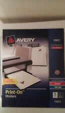 Avery 3 sets 5 tabs white 3 hole punch.  PRINT ON DIVIDER 11511 *NEW*