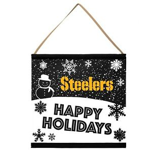 Pittsburgh Steelers Happy Holidays Banner Sign Christmas Wall Door Decoration