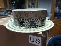"Mary Engelbreit ""It's a Box!"" Hat Box Michel & Co.1997 Green egg flowers & plaid"