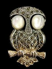 """2.5"""" 4cm 925 Sterling Silver Mother of Pearl Marcasite Owl 2D Bird Brooch Pin"""