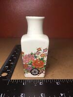 """Vintage Japanese  Floral Porcelain 3"""" Small Square Vase"""