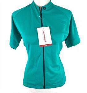 Bontrager Womens Anara Cycling Jersey Green Fitted Mock Neck Zipper L New
