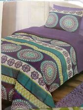 2 Piece REVERSIBLE Comforter Set TWIN with SHAM Purple Lime Green Turquoise Blue