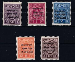 SELTEN 1941 Ital. Besatzung Montenegro Porto 1 - 5  Postfrisch ** € 140,--