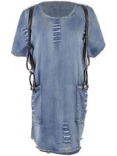 Women S/M Fit Blue Denim Distressed Detail Faux Leather Suspender Dress
