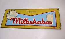 "Rare Vintage 1950s ""Delicious FROSTY Milkshakes"" Yellow Metal Sign by Mummerl Co"