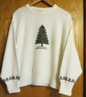Picket and Post Women's Medium cream vintage looking Christmas tree sweater bows