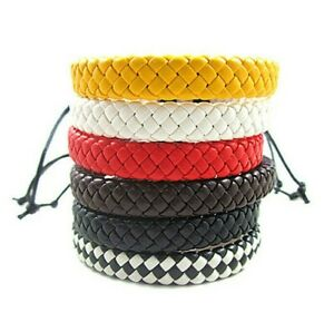 Mens Leather Rope Braided Bracelet, Hand Woven Tribal Ethnic Fashion Wristbands