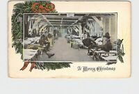 PPC POSTCARD MERRY CHRISTMAS SOLDIERS IN BARRACKS PINE BOUGHS