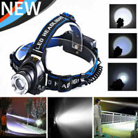 2000LM Super Brillant T6 LED Lampe Frontales Torche 3 Mode EU  Rechargeable