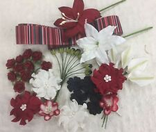 38 RED/BLACK/WHITE Mulberry Paper Flowers Assorted Sizes & Designs + 1m Ribbon