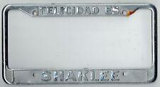 """RARE """"Felicidad Es Shaklee"""" Vintage Pleasanton California License Plate Frame"""