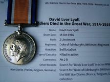 More details for kia france1916 officer ww1 british war medal - lt david ivor lyall wiltshire reg