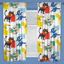 """OFFICIAL POKEMON DASH READYMADE CURTAINS PAIR CHILDRENS 72"""" DROP"""