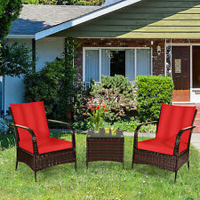 3PCS Patio Rattan Wicker Conversation Set Outdoor Furniture Set w/ Red Cushions