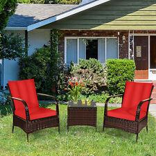 3PCS Patio Rattan Wicker Conversation Set Outdoor Furniture Set w/ Red Cushions